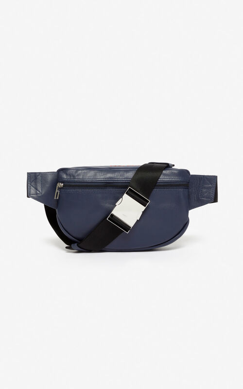 NAVY BLUE Leather 'Kampus' Tiger bumbag for unisex KENZO