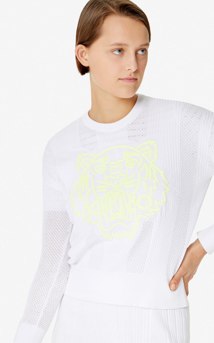 WHITE Openwork Tiger jumper for women KENZO