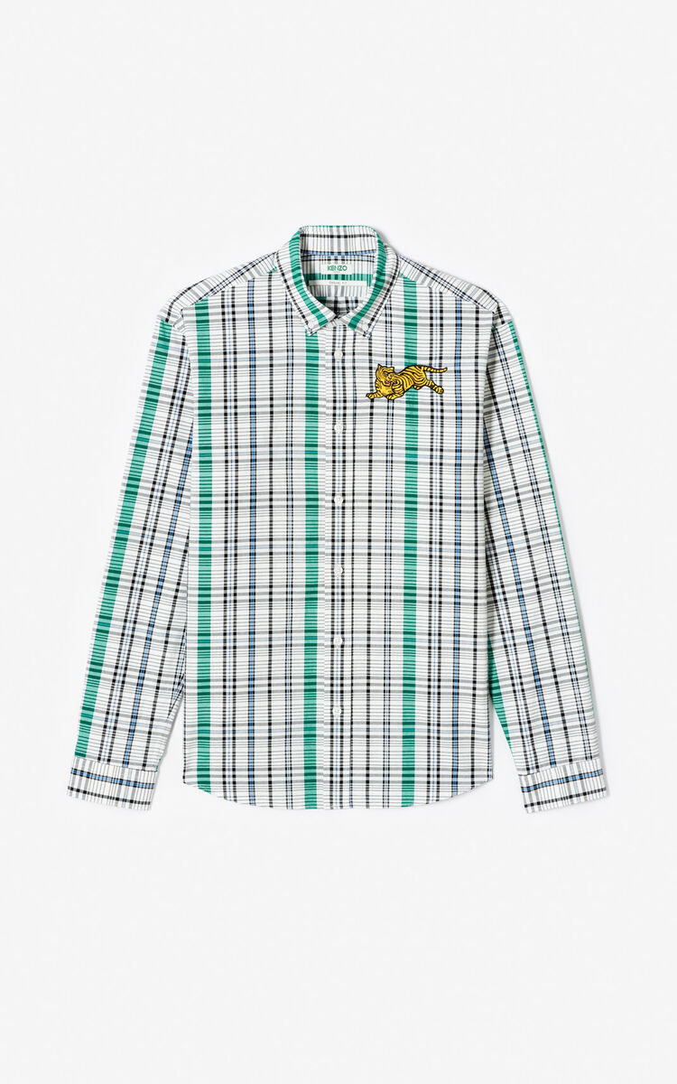WHITE 'Jumping Tiger' check print casual shirt for men KENZO