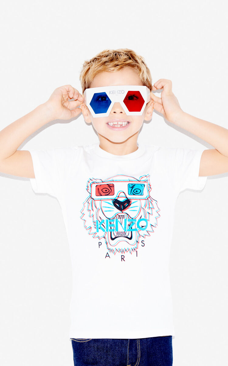 WHITE 3D Tiger T-shirt for men KENZO