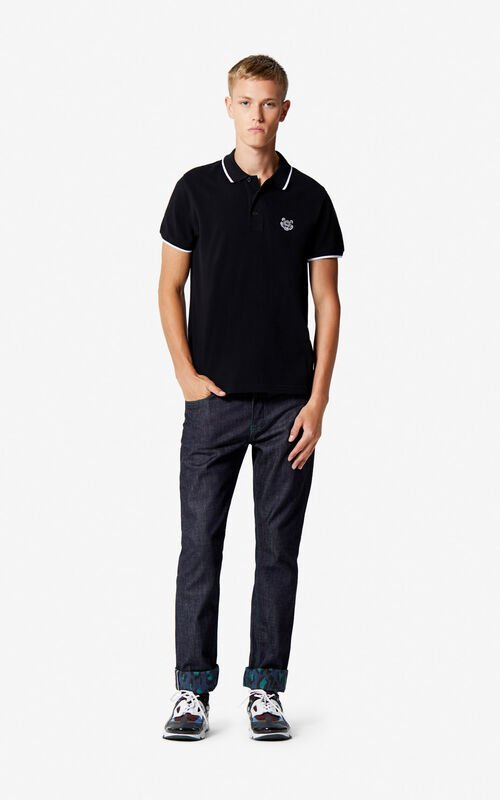 BLACK Slim fit Tiger polo shirt for men KENZO