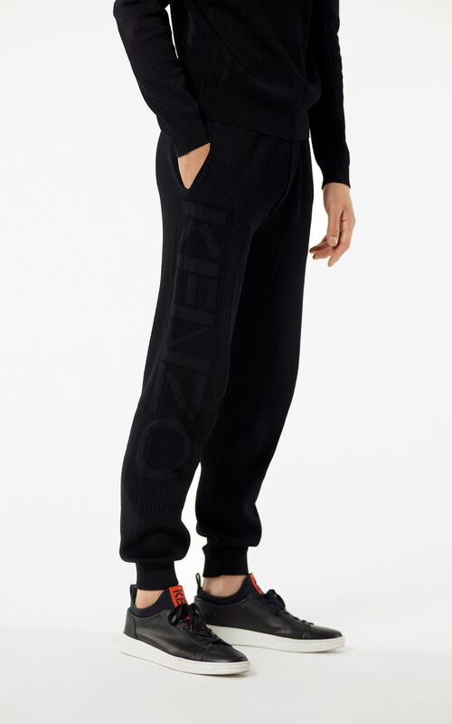 BLACK KENZO Logo ribbed trousers for men