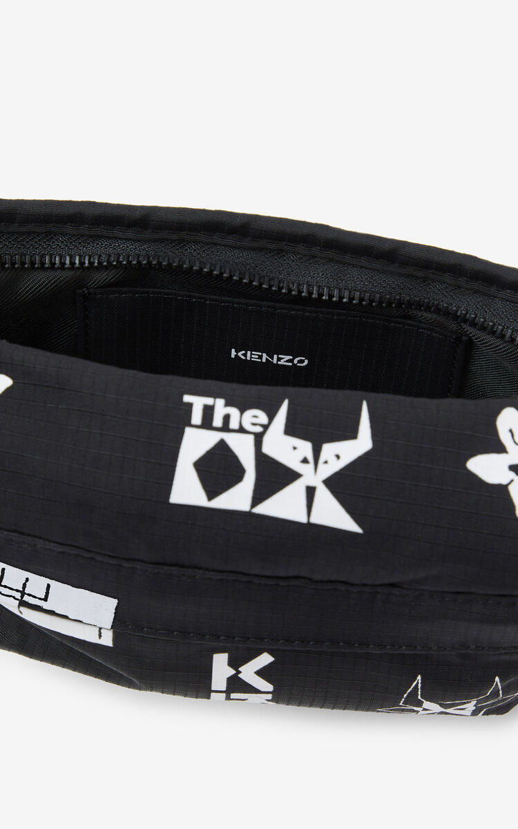 BLACK 'Sign & Symbol' mini belt bag for women KENZO
