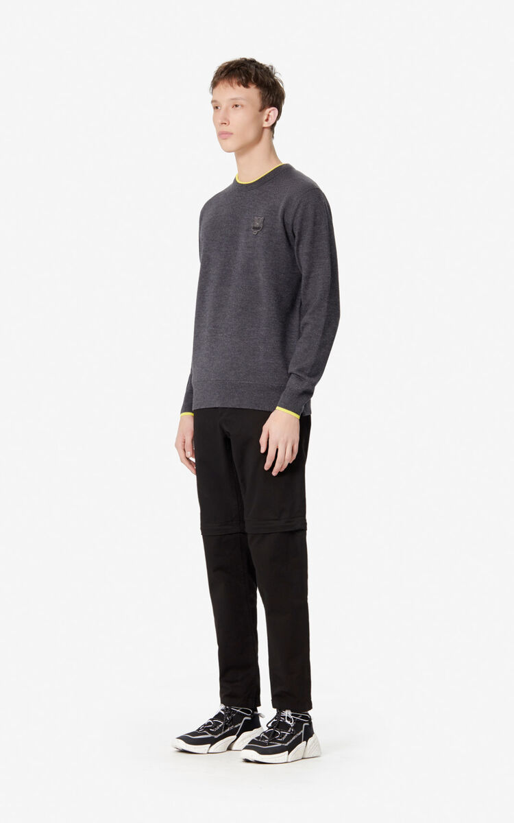 ANTHRACITE Woollen Tiger jumper for men KENZO