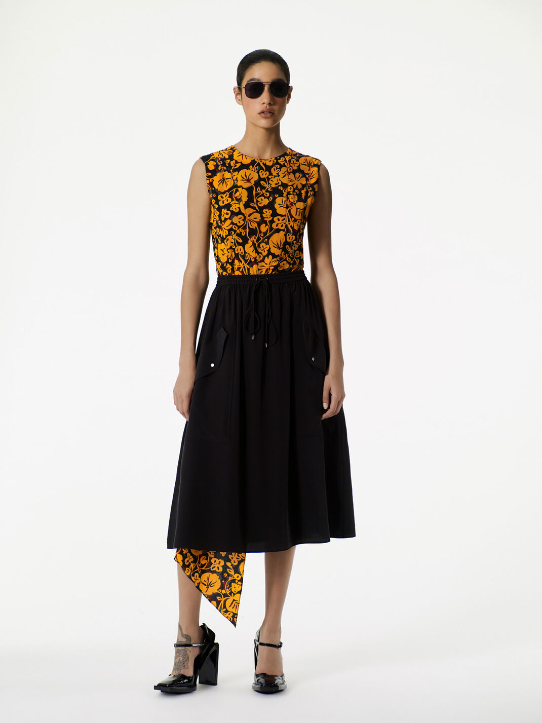 BLACK Soft crepe skirt for women KENZO