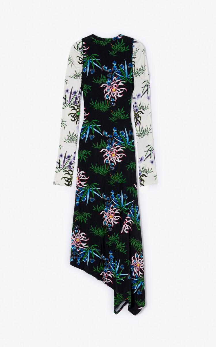 BLACK Sea Lily' long dress for women KENZO