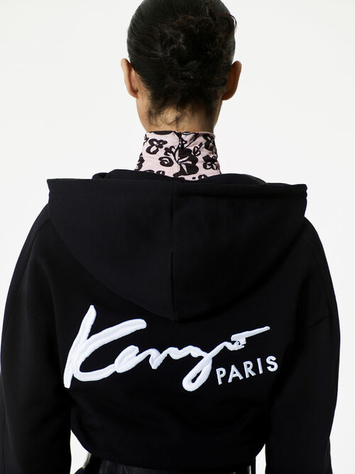 BLACK Short KENZO Signature Hoodie for women