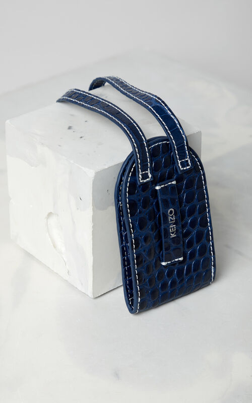 NAVY BLUE Leather card holder for men KENZO