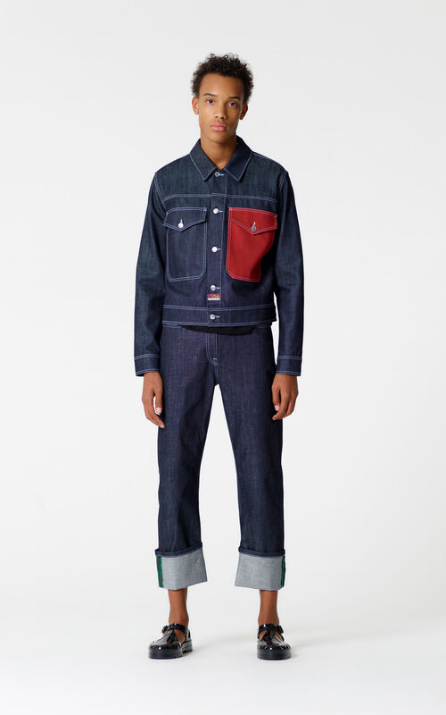 NAVY BLUE Straight leg turn-up jeans for men KENZO