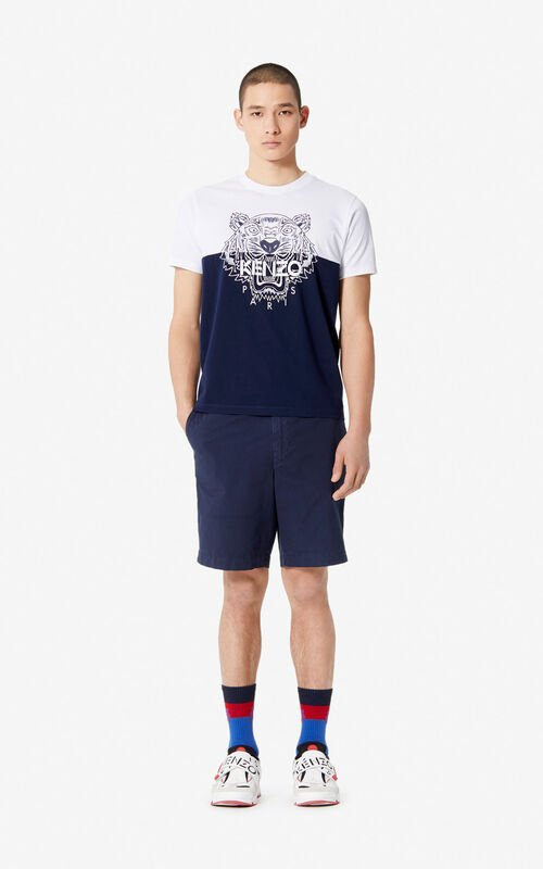 MIDNIGHT BLUE 'Colorblock Tiger' t-shirt for men KENZO