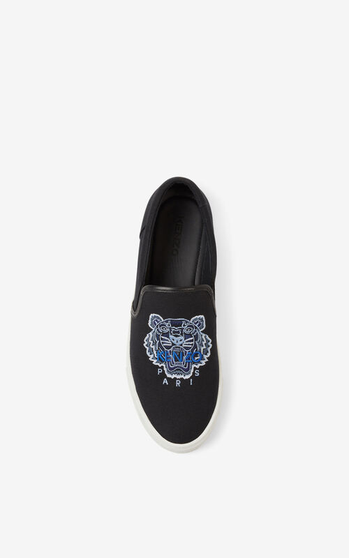 BLACK K-SKATE Tiger canvas slip-on sneakers for unisex KENZO