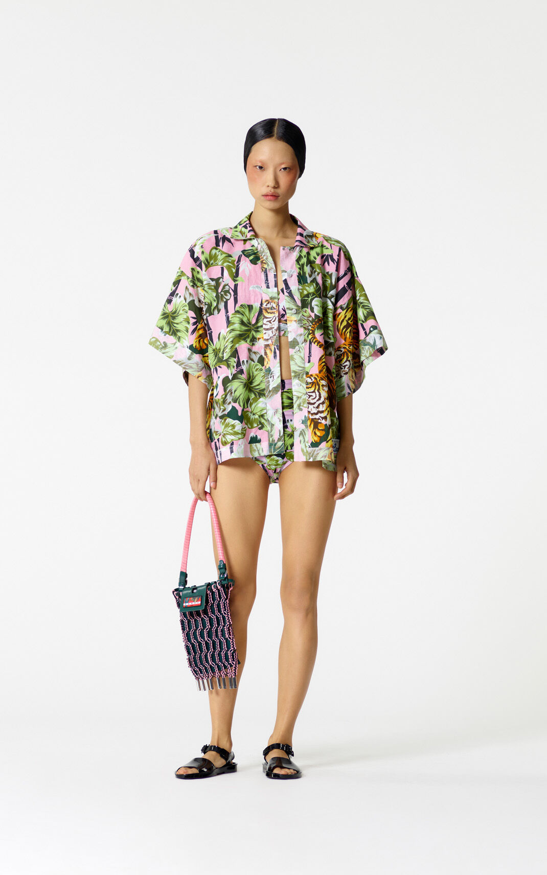 FLAMINGO PINK Reversible 'Bamboo Tiger' shirt for women KENZO