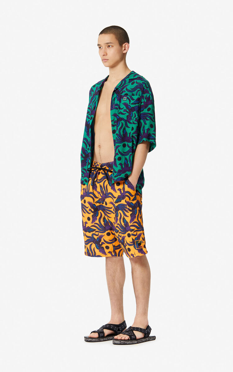 MEDIUM ORANGE 'Flying Phoenix' swim trunks for men KENZO
