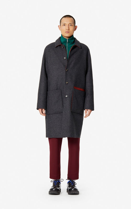 STONE GREY Two-tone coat in wool for men KENZO