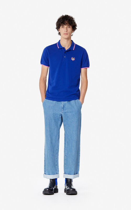 ELECTRIC BLUE Fitted Tiger polo shirt  for men KENZO