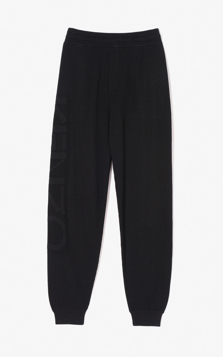 BLACK KENZO Logo ribbed trousers for women