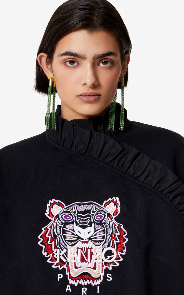 BLACK Frilled Tiger sweatshirt for men KENZO