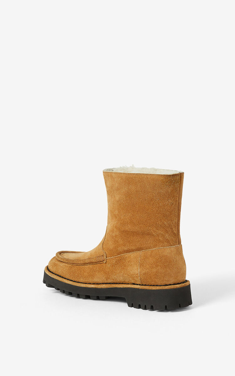 DARK CAMEL K-Mount suede ankle boots for women KENZO