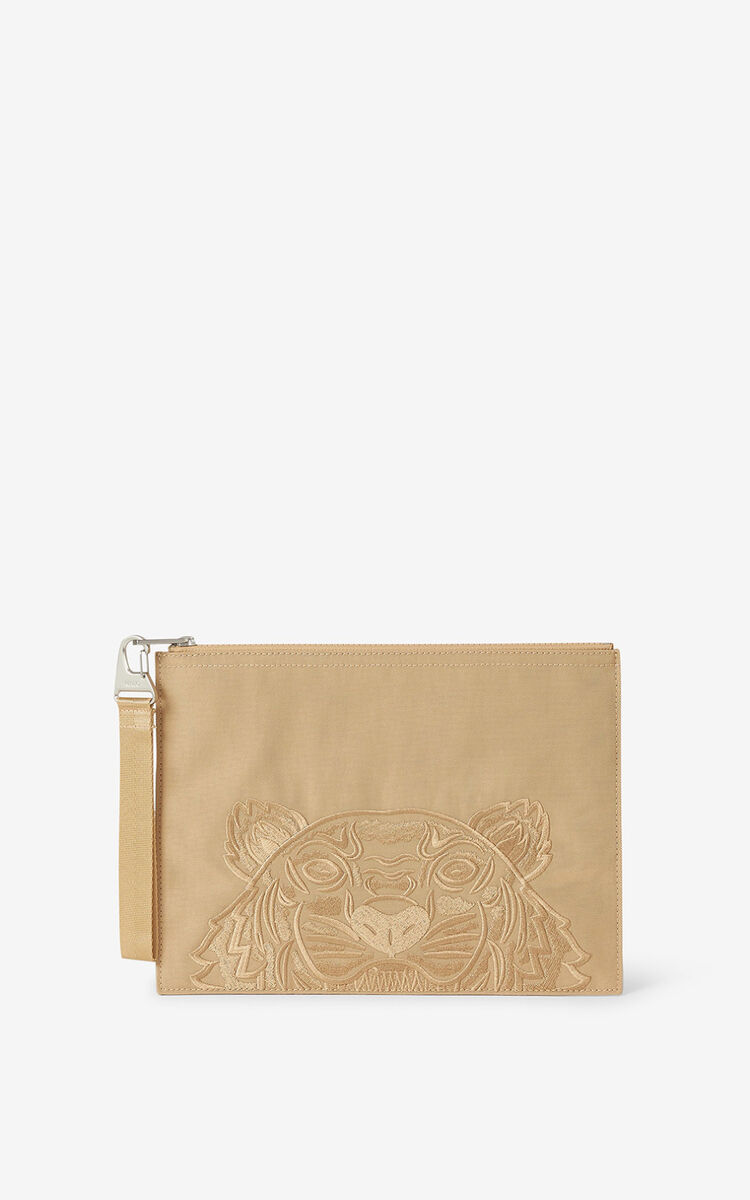 BEIGE Large canvas Kampus Tiger pouch for unisex KENZO