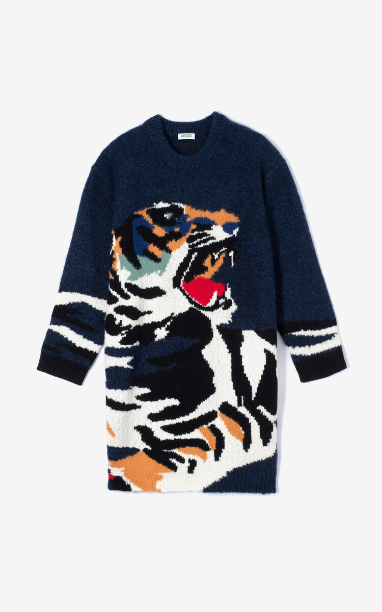 NAVY BLUE 'Tiger Head' sweater dress for women KENZO