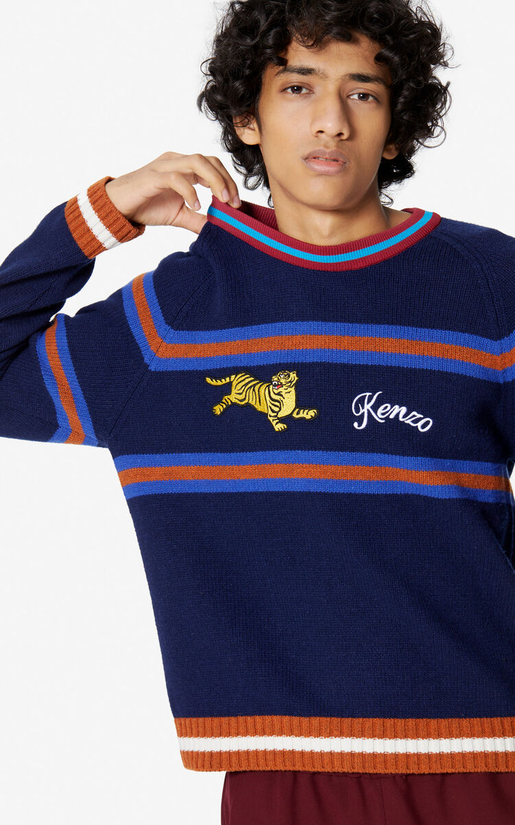 NAVY BLUE 'Jumping Tiger' jumper for women KENZO