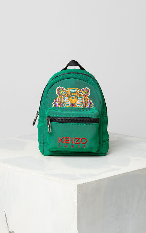 GRASS GREEN Mini Tiger Canvas Backpack for women KENZO