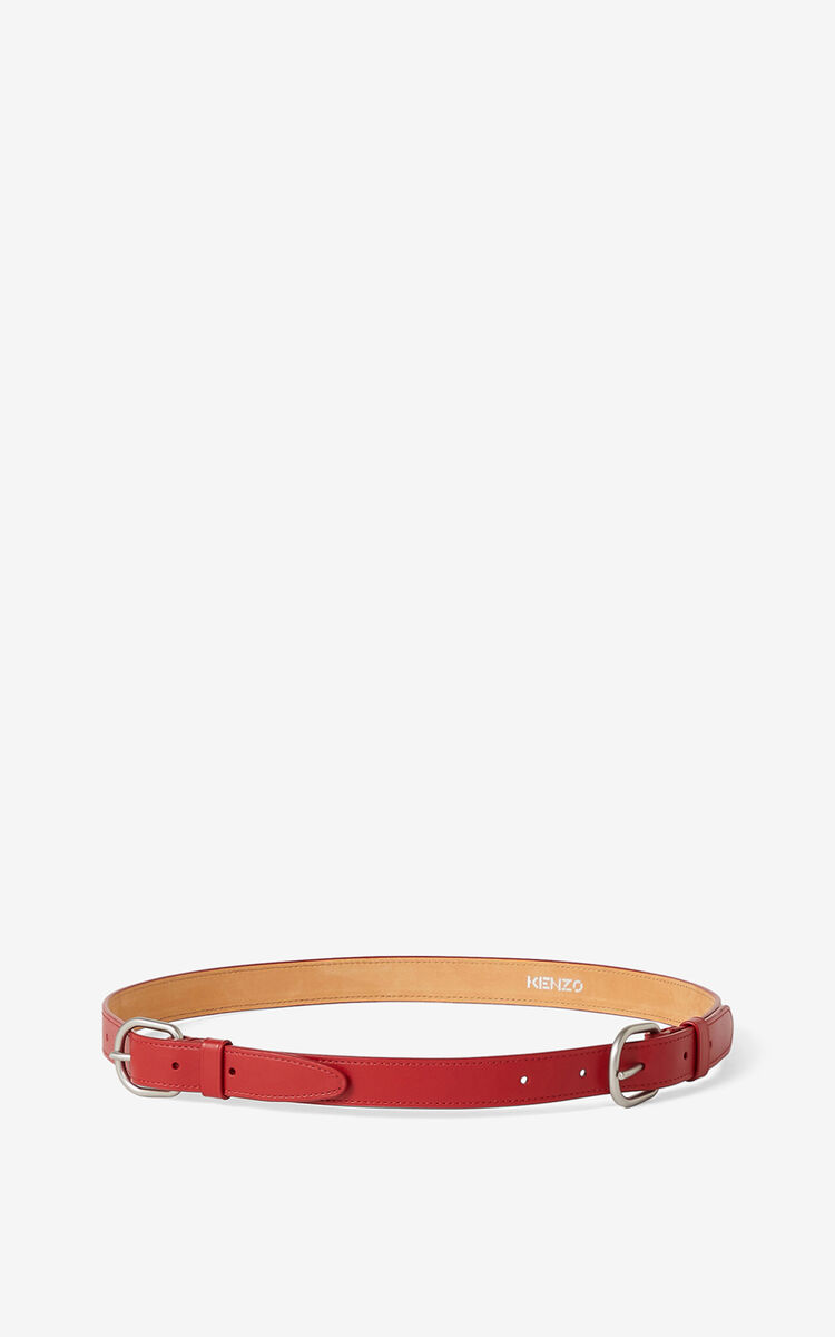 MEDIUM RED Leather belt with two buckles for unisex KENZO