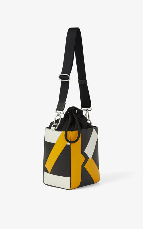 GOLDEN YELLOW Kube small leather tote bag for women KENZO