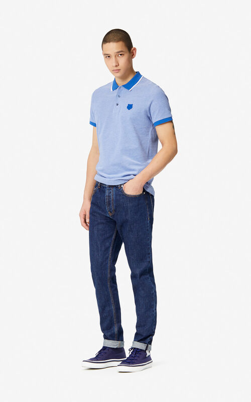 753da86c ... FRENCH BLUE Fitted Tiger polo shirt for men KENZO