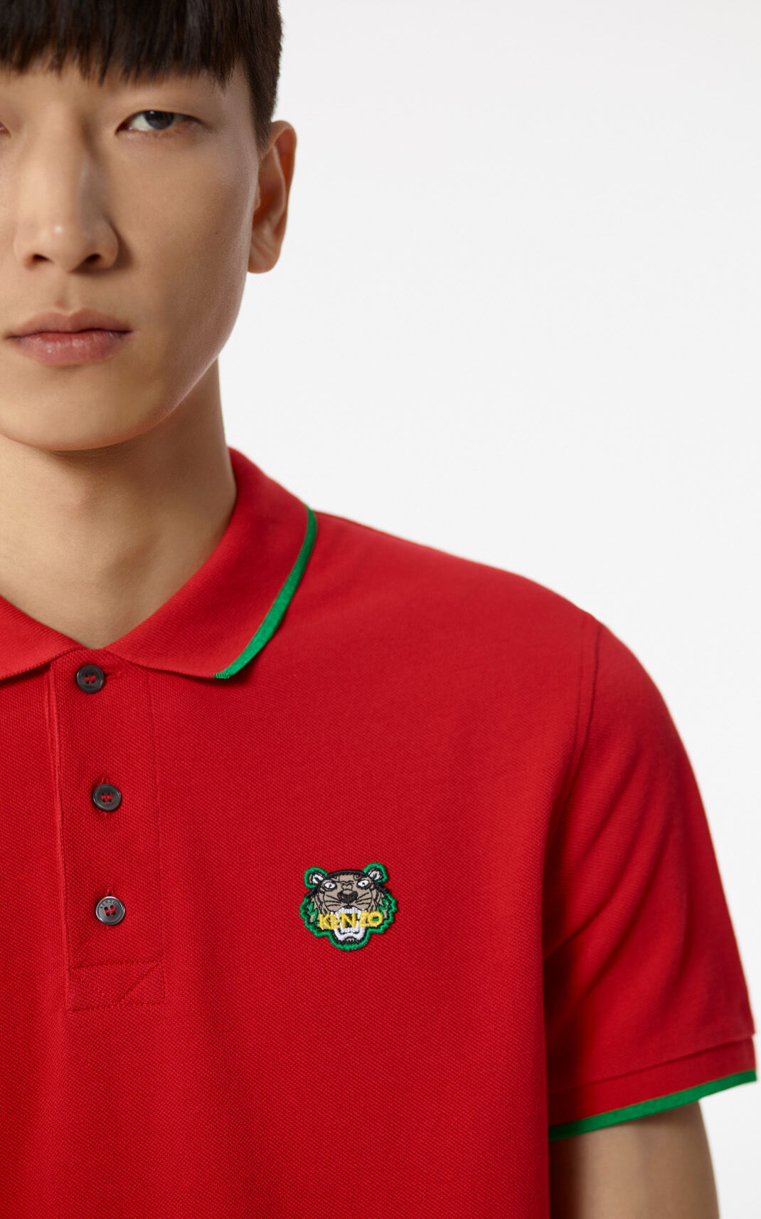 MEDIUM RED Adjusted Tiger Polo for men KENZO