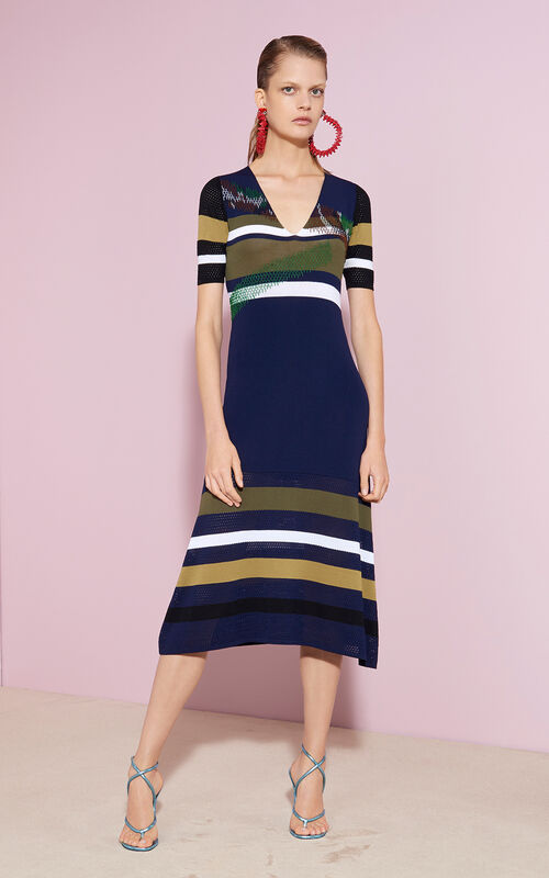 Broken Camo dress, MIDNIGHT BLUE, KENZO