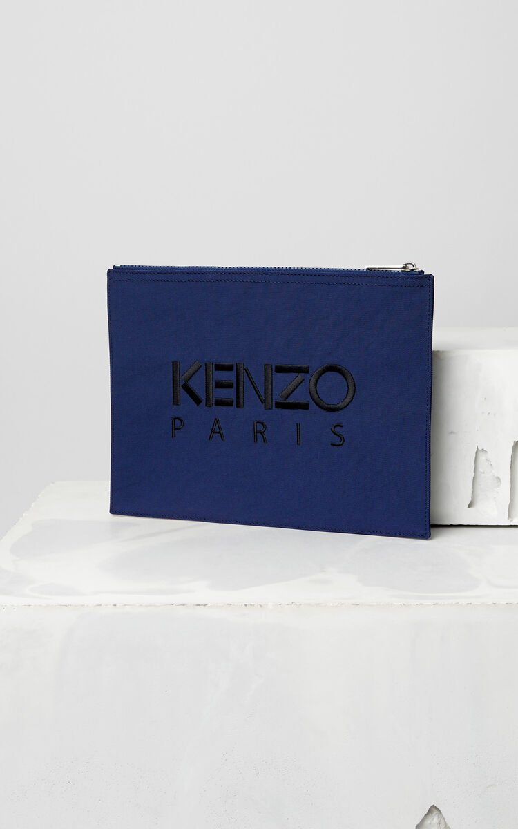NAVY BLUE A4 Tiger Canvas Clutch for unisex KENZO