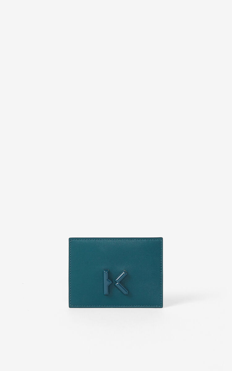 DUCK BLUE KENZO K leather card holder for unisex