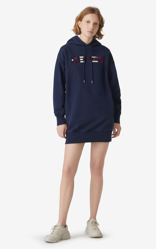 NAVY BLUE KENZO Logo hooded sweatshirt dress for women