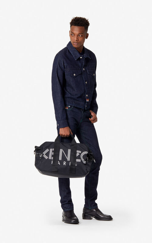 BLACK KENZO Logo week-end bag for men
