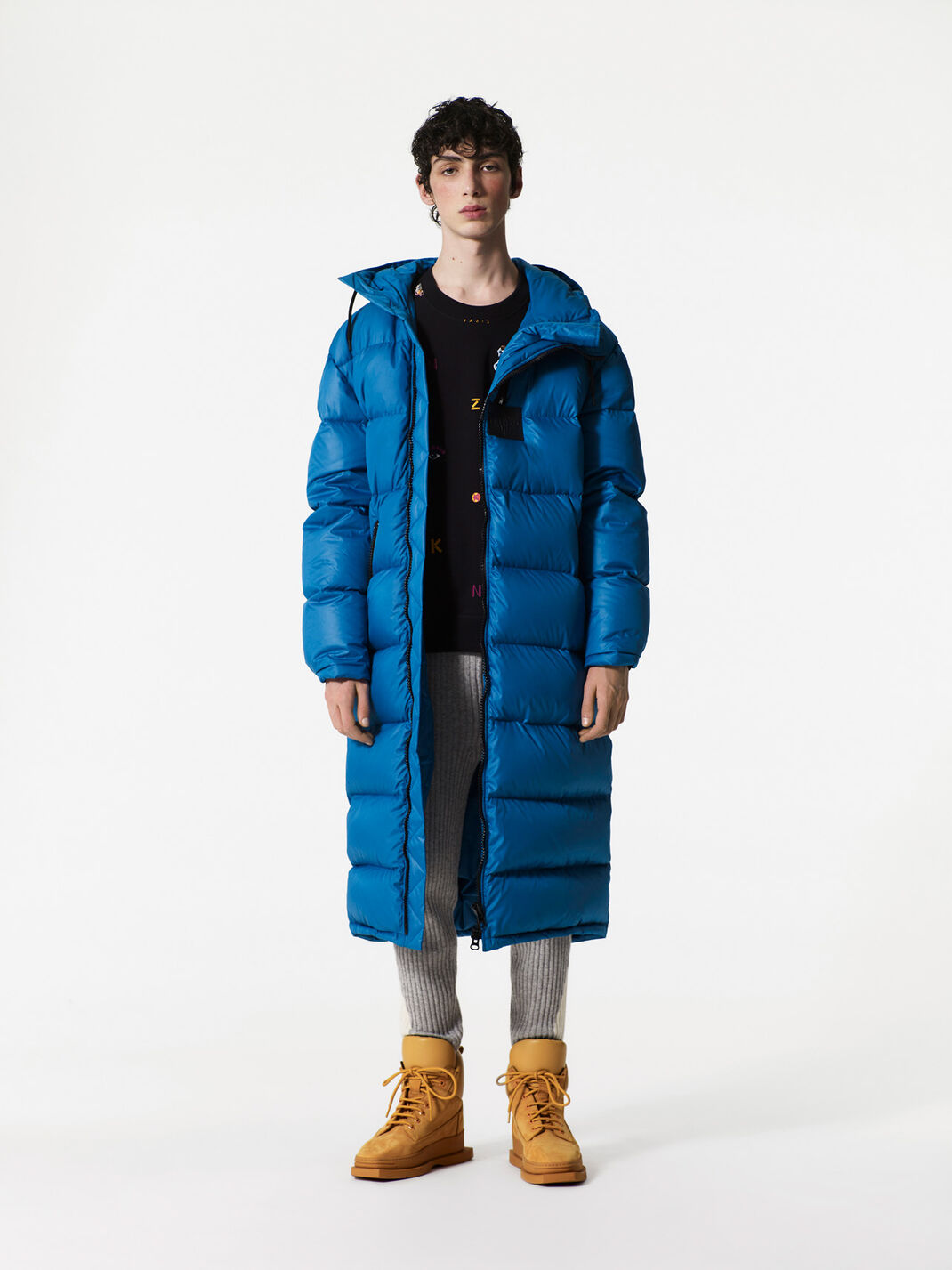 DUCK BLUE Long Quilted shell coat for men KENZO