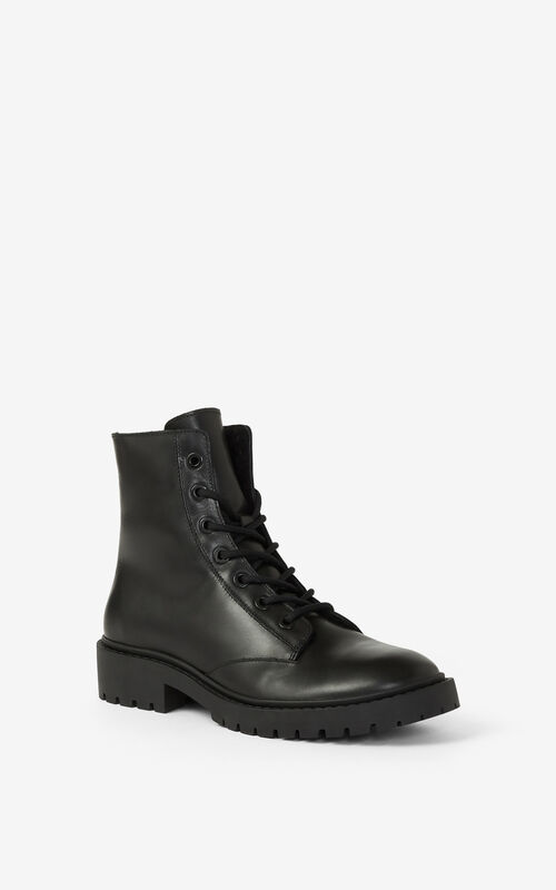BLACK PIKE shearling lined laced leather ankle boots  for unisex KENZO