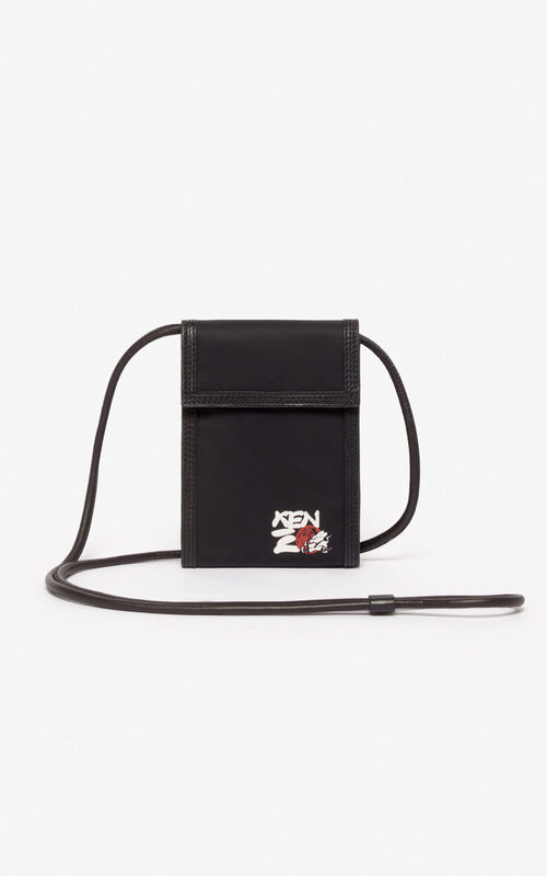 BLACK 'Chinese New Year Capsule' 'Kung Fu Rat' Hone Holder on strap for unisex KENZO