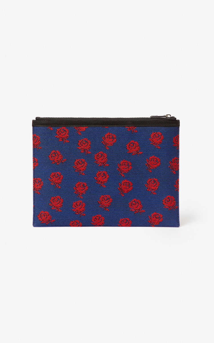 COBALT KENZO logo 'Roses' A4 clutch for unisex