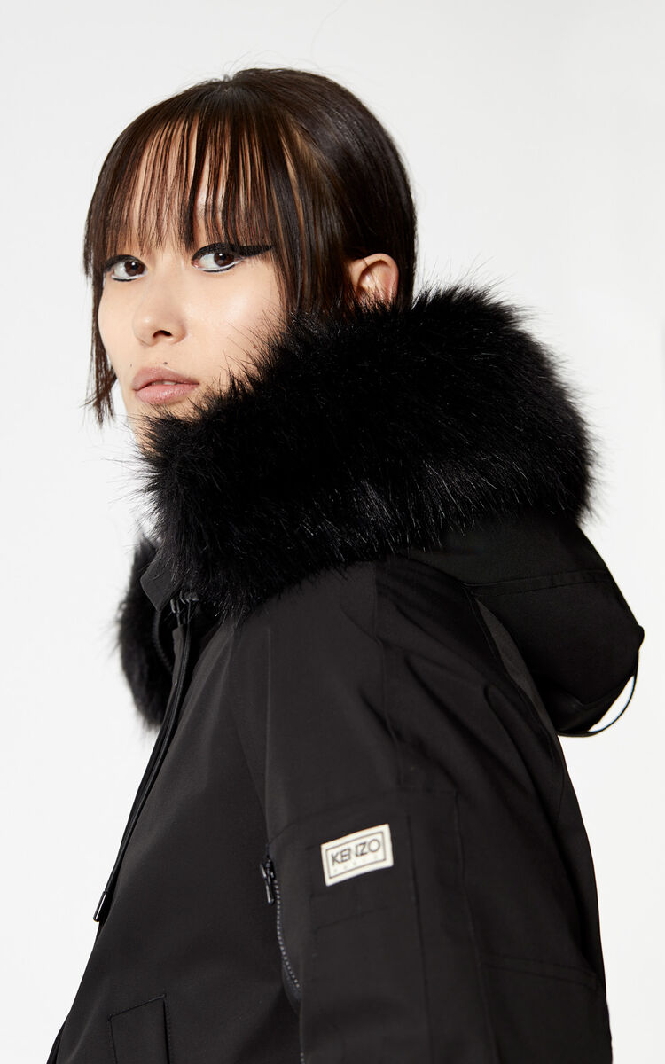 BLACK Long hooded 'Puffa' parka for women KENZO