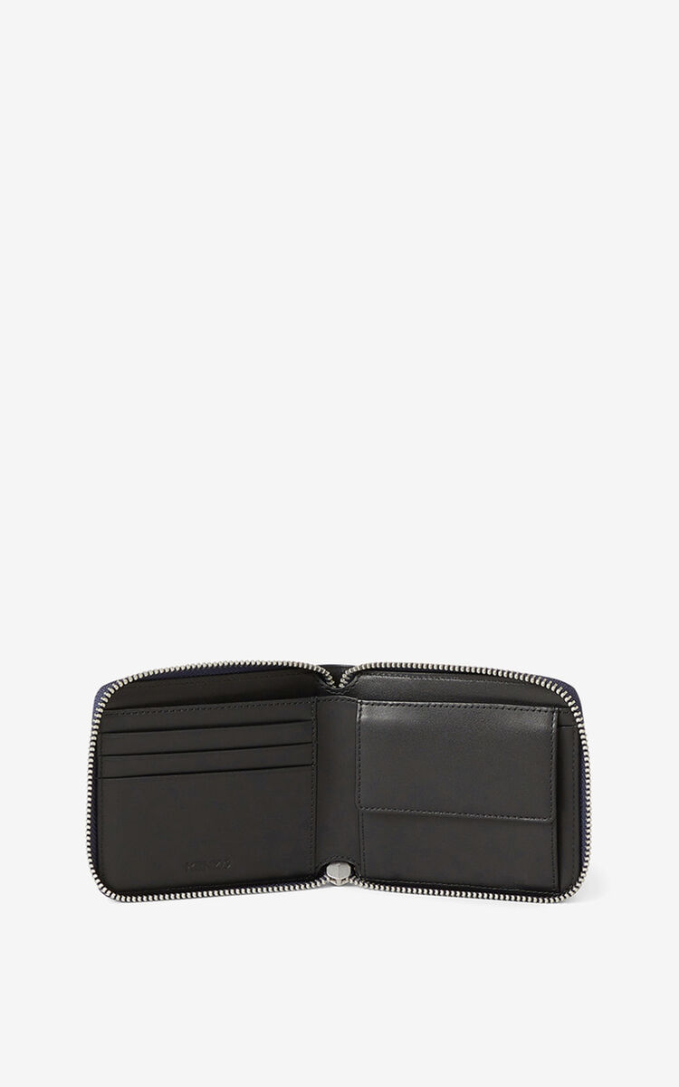 MIDNIGHT BLUE KENZO Stamp small zipped leather wallet for unisex