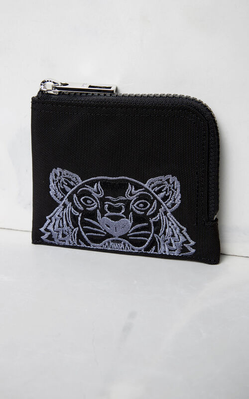 BLACK Zipped Tiger purse for men KENZO