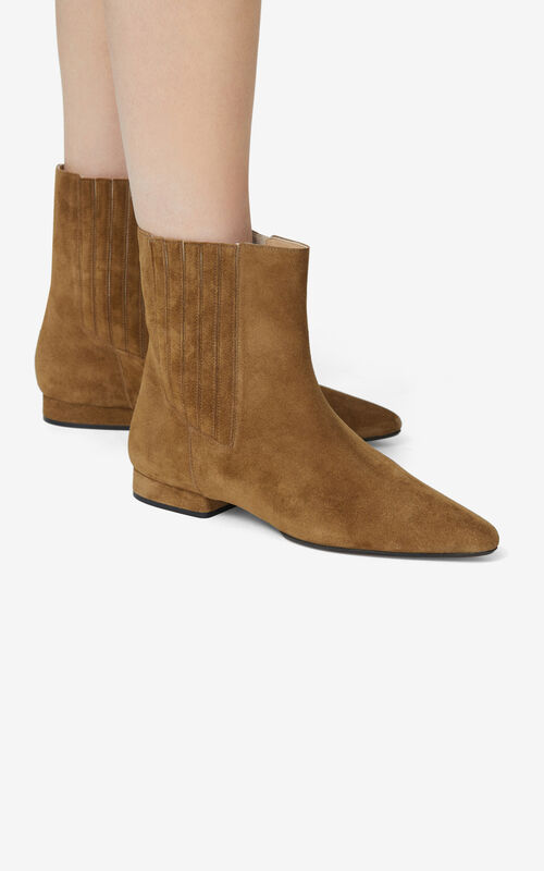 DARK CAMEL K-Line Soft suede ankle boots for women KENZO