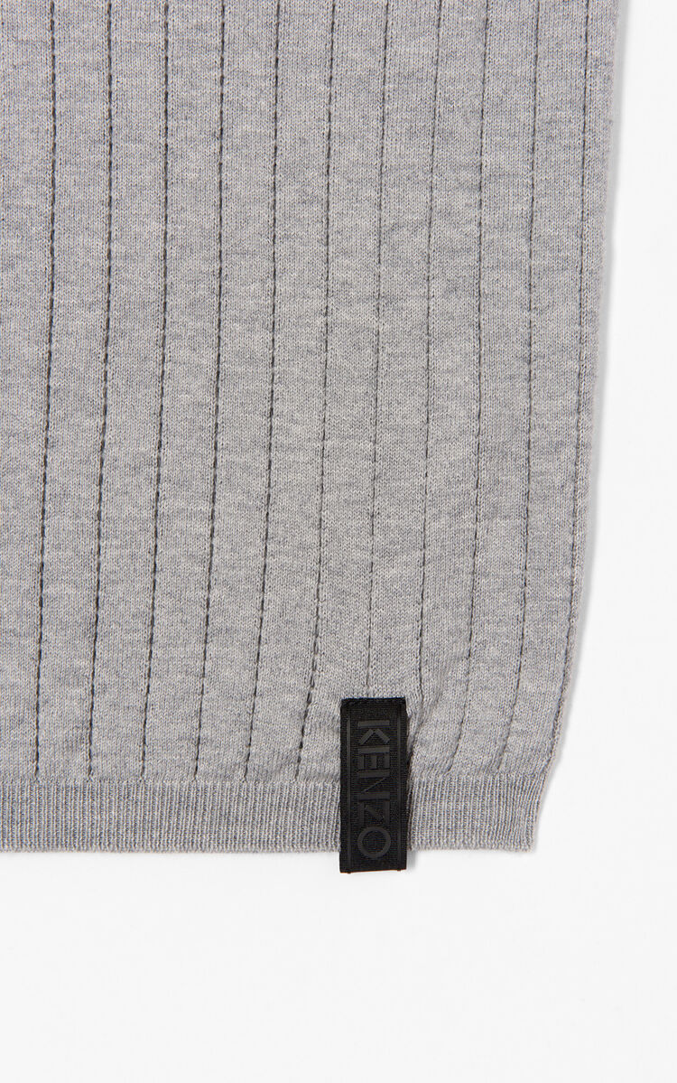 DOVE GREY Open-stitch knit  jumper for men KENZO