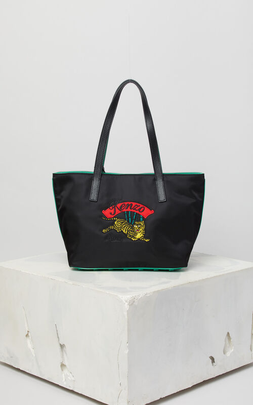 Black Canvas Tote With Jumping Tiger Embroidery For Uni Kenzo