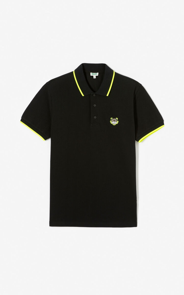 BLACK Fitted Tiger polo shirt for men KENZO