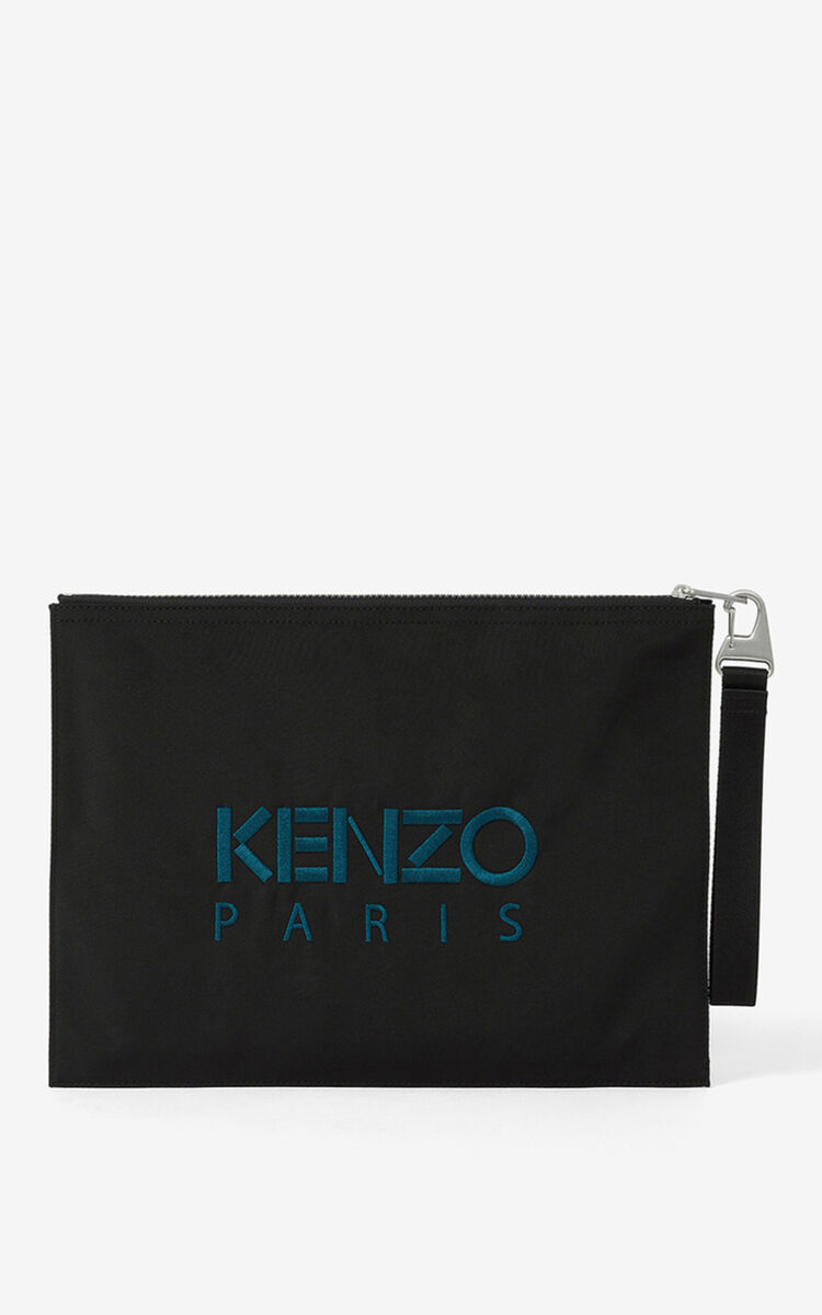 BLACK Canvas Kampus Tiger pouch for men KENZO