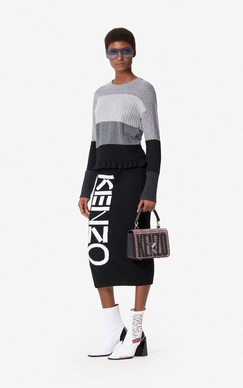 BLACK KENZO knit skirt for women