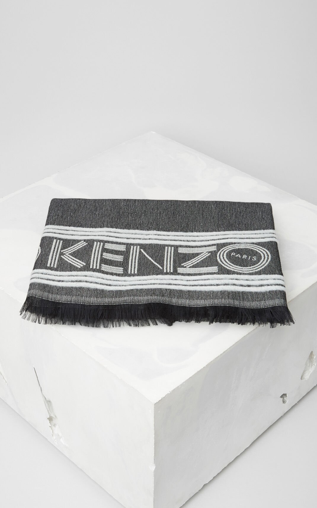 BLACK KENZO Sport Wool and Viscose Scarf for women