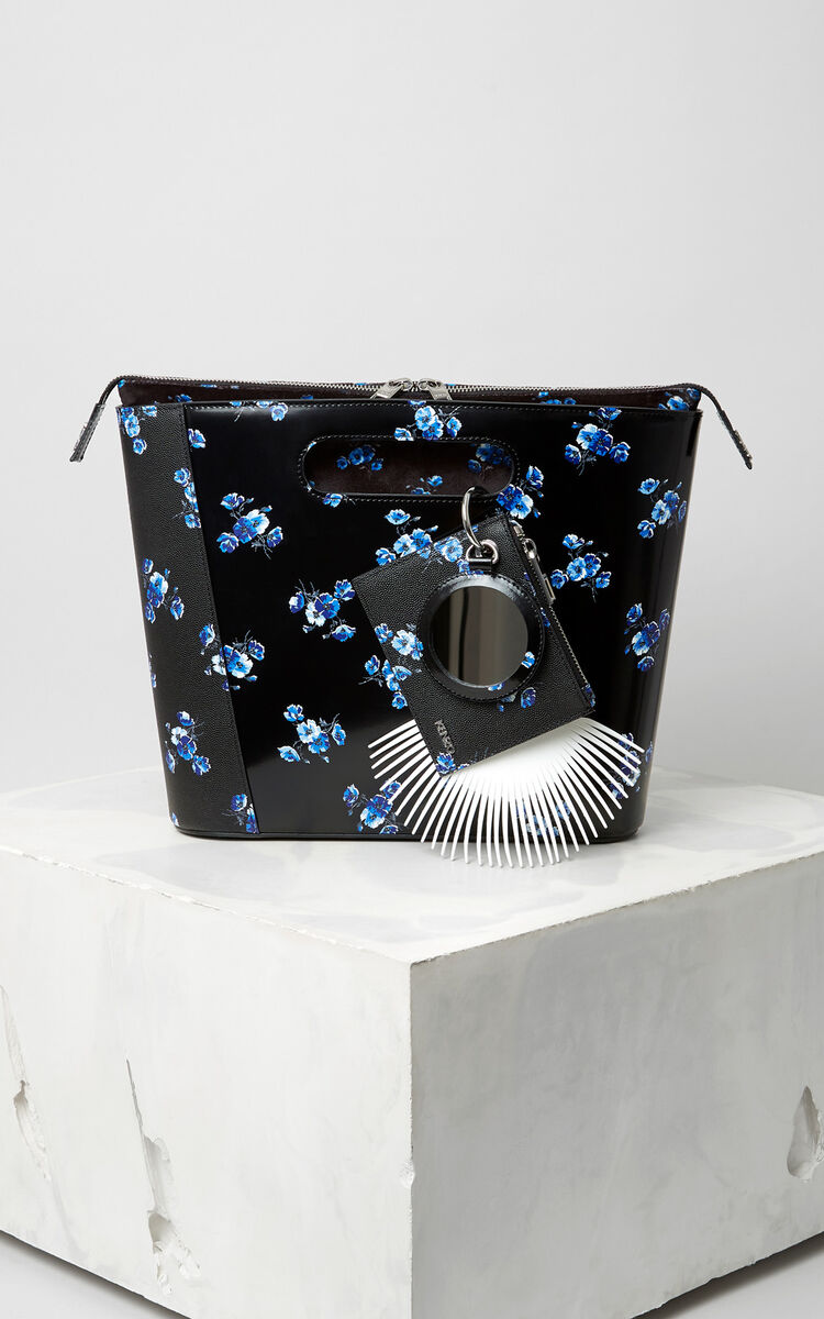 BLACK Medium ''May flowers' Stiff Tote Bag for women KENZO